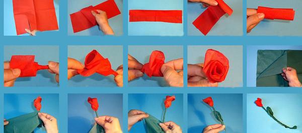 Поделки из салфеток розы