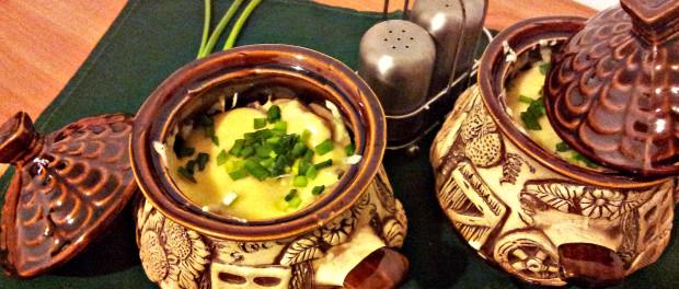 Картопля з м'ясом та грибами, запечена в горщиках, рецепт