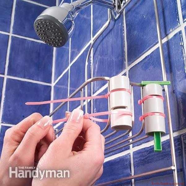 Тримач бритви із труби і пластикових стяжок