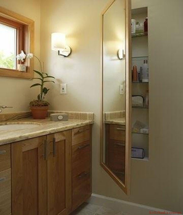 полиця за дзеркалом у ванній