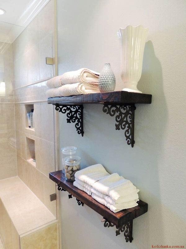 полиці для ванної із дерева