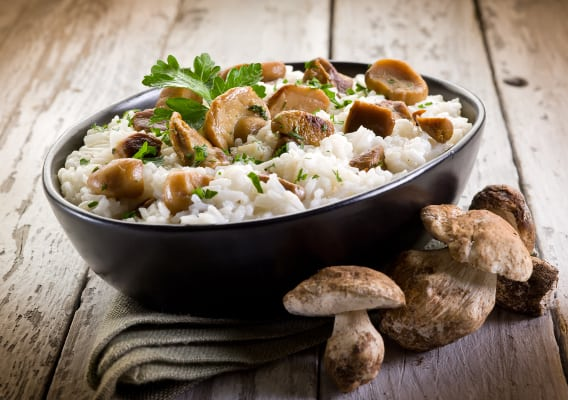 Рецепт приготування різотто з білими грибами